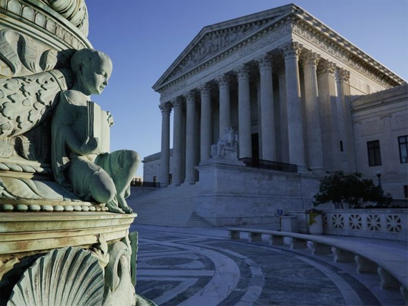 The Supreme Court in Washington. Tech giants Google and Oracle are clashing at the Supreme Court in a copyright dispute worth billions and important to the future of software development.