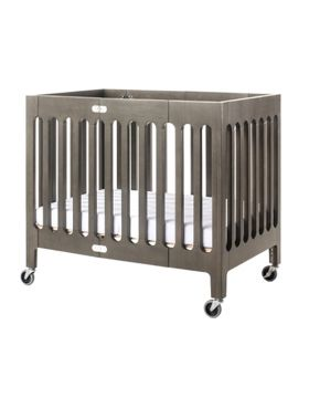 Foundations USA Boutique Wooden Compact Foldable Crib - Grey