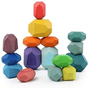 Holdax Premium Quality Jenga Colored Stones | 16 pcs Luxury Set | Wooden game kit| Perfect for Kids