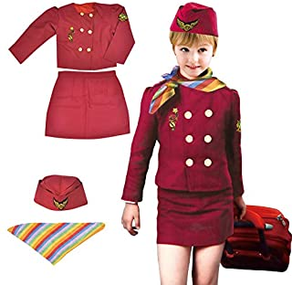 Yalla Baby Girls Costume Cabin Crew Air Hostess Costume for Kids Girls Pretend Dress up Role Play 4pcs Set (3-8 Years