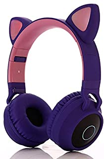 Pshare Cute Foldable Over/On Ear Headsets with LED Light for Girl Adult