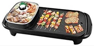 TIM Indoor Outdoor Non-stick Smokeless Multi-Function Electric 2 in 1 BBQ Grill & Hot Pot Barbecue Oven for Party Family gathering