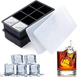 Large Square Ice Cube Trays - SLGOL 2 Pack Silicone Tray Set with BPA Free Plastic Lids for 8 Square Cubes Flexible Stackable Easy Release Freezer Molds for Whiskey