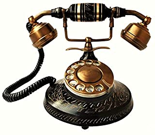 Antique Warehouse British Phone Antique Desk Décor Landline Beautifully Crafted Brass Rotary Dial Working Corded Maharaja Telephone A4TP 015