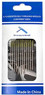 Shinesky 12pc Thick Big Eye Sewing Self-Threading Needles Embroidery Hand Sewing Kit Set