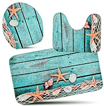3-Piece Bath Mat Set Bath Rug Set Non Slip Bathroom Rugs for Kitchen Shower and Toilet (Starfish Floor) Pedestal Rug + Lid Toilet Cover + Bath Mat