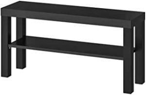 ZENHOME 2-Tier Wide TV Stand Minimalist Simple Elevated TV/Monitor Table with Shelf - 90 cm (Black)