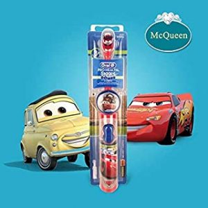Electric Toothbrushes - OralB Electric Toothbrush for Children Gum Care Rotation Vitality Cartoon Oral Health Soft Tooth Brush for Kids Battery Powered (Cars-McQueen)