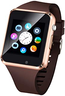 Janker Smart Watch Phone Smartwatch with Camera Pedometer Call Text SNS Sync SIM Card Slot TF Card Music Player Alarm Compatible Android And IPhone (Partial Functions) For Men Women Kids Teens Gold