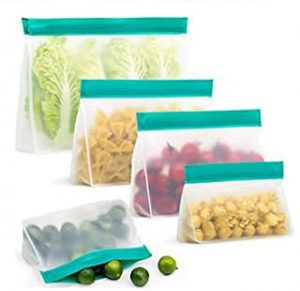 AMERTEER Stand up Reusable food Storage Bags(5 Pack)