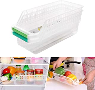 DAYON Kitchen Refrigerator Storage Space Saver Organizer Slide Shelf Rack Container Freezer Organizer Home Plastic Box Container