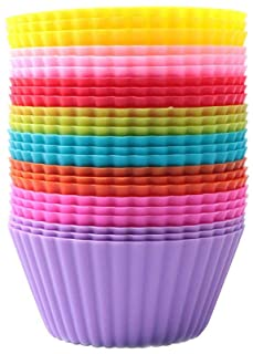 JaneDream Cupcake Liners 24 Pcs Silicone Muffin Cups Cake Baking Molds Colorful Reusable Nonstick Cake Case Wrappers