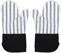 Keyzone Silicone Oven Mitts Heat Resistant Kitchen Oven Gloves for BBQ Cooking Baking Grilling Barbecue Microwave Machine (Black)