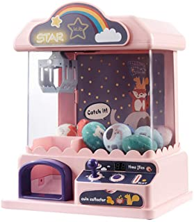 Children Grab Doll Machine Mini Home Small Game Console Creative Music& Lights Claw Toy Coin-Operated Candy Play