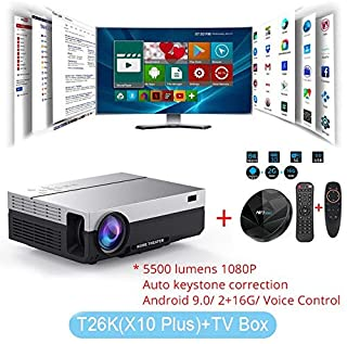 projector full hd - Touyinger T26K LED Native 1080p Projector full HD beamer Video 5500 Lumen T26L Home cinema HDMI (Android 9.0 wifi AC3 optional) (T26K Add TV Box)