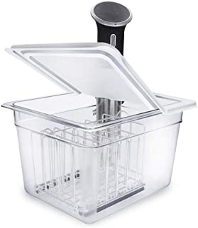EVERIE Sous Vide Container 12 Qt with Collapsible Hinged Lid and Sous Vide Rack Divider Compatible with Anova 800w or 900w
