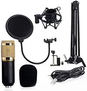 BM 800 Condenser Sound Recording Microphone with Shock Mount for Radio Braodcasting Singing Black