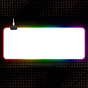 LJSBD Gaming Pad All White Anti-Slip Natural Rubber Base With Sewn Edges Blank Mouse Pad Rgb Led