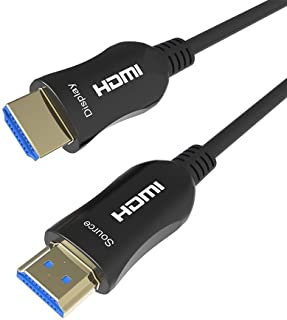 Shuliancable Fiber Optic HDMI Cable, HDMI Optical Cable Support 4K@60Hz/4:4:4 HDR HDCP High Speed 18Gbps HDMI Lead (10m)