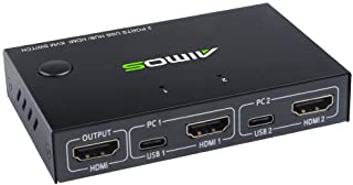 Eyoyo HDMI KVM Switch 2 Port Selector for 2 PC Sharing 1 HD Monitor and 4 USB Devices
