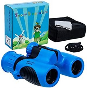 8x21 Kids Binoculars Set - High Resolution Real Optics - Shock Proof - Bird Watching - Presents for Kids - Children Gifts - Boys and Girls - Outdoor Play - Hunting - Camping (blue)