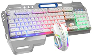 Padom wired RGB keyboard and mouse set manipulator sense gaming gaming office desktop notebook dedicated (White)