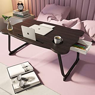 Foldable Laptop Desk Multi-Function Laptop Bed Table Stand with Storage Drawer Cup Holder (Black)