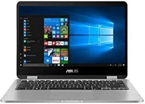 ASUS Vivobook Flip 14 TP401MA-BZ228TS Laptop (Light Grey) – Dual-Core Intel Celeron N4020 Processor 1.1 GHz