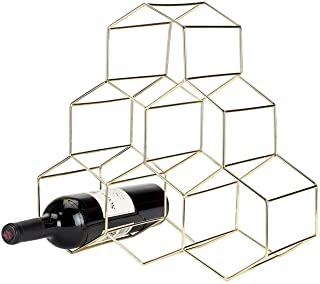 Chulovs 6 Bottles Wine Rack Countertop Free-stand Wine Storage Holder Space Saver Protector for Red White Wines (Gold)