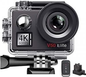 AKASO V50Elite 4K 60fps WiFi Action Camera Touch Screen Voice Control EIS 40m Underwater Waterproof Camera Adjustable View Angle 8X Zoom Remote Control Sports Camera with Mounting Accessories