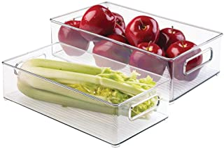 mDesign Set of 2 Refrigerator and Freezer Storage - Storage Containers for Food Items - Practical Storage Boxes for the Kitchen - Clear