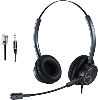 Telephone Headset Call Center Headset with Noise Cancelling Microphone with RJ9 Compatible with Avaya Nortel Aastra Toshiba RJ9 for Yealink Snom Grandstream Panasonic...