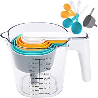 Baytion Measuring Cup and Measuring Spoons 9pcs Set with One Scraper One Funnel,Colorful Plastic Cooking Baking Kitchen Utensil-BPA Free & Dishwasher Safe
