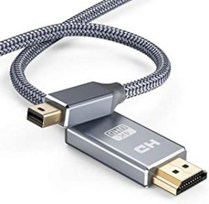 Capshi Mini DisplayPort to HDMI Cable - 6Ft Thunderbolt to HDMI Cord Mini DP to HDMI Chord 4K MiniDP to HDMI Wires Nylon Braided 1080P Compatible Mac Air/Pro