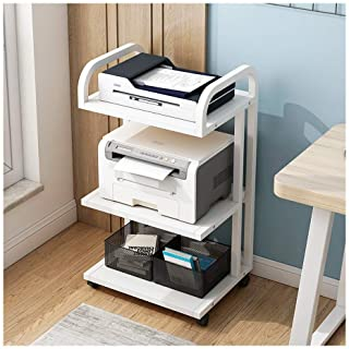 Fax Machine Stand 3-Shelf Printer Cart Stand with Wheels Multifunctional Storage Rack Paper Organizer for Home and Office Desk Shelf (Color : White-b)