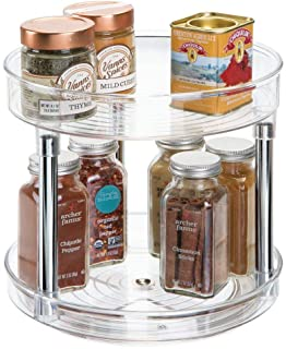 (Clear) - mDesign 2 Tier Lazy Susan Turntable Food Storage Container for Cabinet
