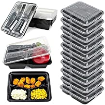 20 Pcs Combo Pack Rectangular 3-Compartment Container