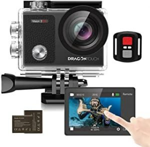Dragon Touch Vision3 Pro Action Camera 4K30fps Touch Screen 16MP WiFi Sports Camera 30M Waterproof Underwater Camera 170°Wide Angle 4X Zoom with 2 Batteries and Mounting Accessories