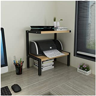 Fax Machine Stand Household Printer Stand with 2 Tier Steel-wood Structure Storage Shelves