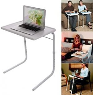 Foldable Assembled Table TV Tray Portable Folding Snack Table - Adjustable Sofa Side Table