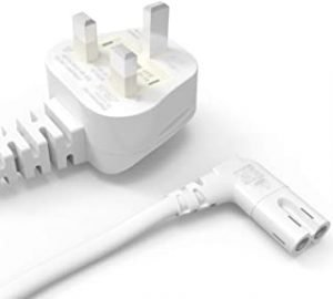 Ancable 3M White UK AC Power Cord 3 Prong to Angled 90 Degree IEC C7 Figure 8 for Samsung LG Sony Sharp LED TV
