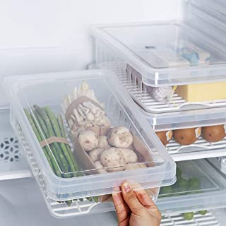 Food Storage Containers with metal strainer Kitchen storage Food Containers with Lid Stackable Portable to Keep vegetables fruits canned drinks cheeses bagged frozen vegetables 1 unit (Food Storage)