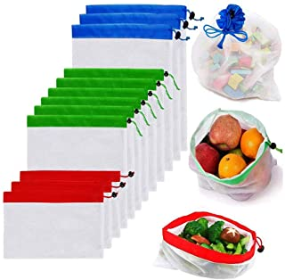 YOMYM Reusable Mesh Produce Bags Premium Washable Eco Friendly Bags with Tare Weight on Tags for Grocery Shopping Storage