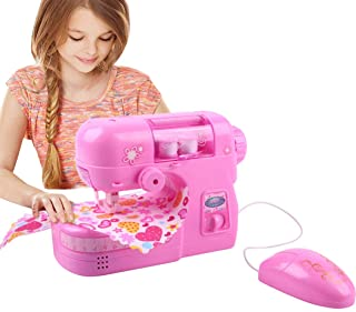 Coxeer Kids Battery Operated Sewing Machine Toy Fashion Show Sewing Set Sewing Made Easy Pretend Play Toy for Girl Best Gift for Kids
