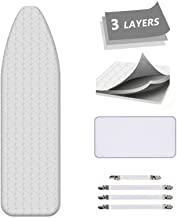 Ironing Board Cover and Pad AUSHEN Extra Thick Padding Silver Coated Scorch and Stain Resistant 15 x 54 Replacement Ironing Board Cover with Elastic Edge 4 Fasteners and 1 Protective Scorch Mesh Cloth