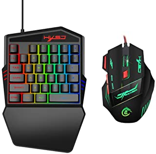 Lixada 35 Buttons Gaming Keyd Mechanical Keyd and Mouse Kit Backlight Gaming Key-Pad Mouse Set Mobile Phones Game Accessories