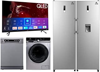 evvoli 75 Inch QLED TV + 15 Place setting Dishwasher+ 12KG Automatic Washing Machine + Twin Freezer and Fridge Combo