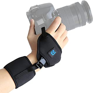 PULUZ Soft Neoprene Hand Grip Wrist Strap with 1/4-inch Screw Plastic Plate for SLR and DSLR Cameras - Black