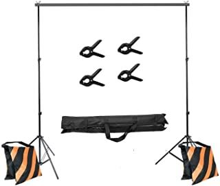 COOPIC 2X3M (6.5x10) FT Adjustable Photography Background Frame Stand Backdrop Support System Studio Lighting Tripod Stand Canvas Muslin Paper Projector Screen Kit/4x Clamp/2x Sand Bag/Carry Bag