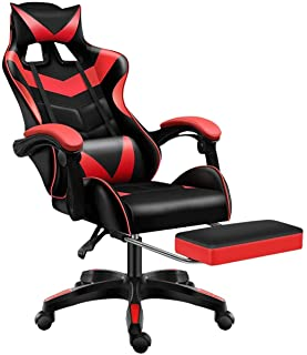 Gaming Chair PC Computer Desk Chair Video Game Racing Chair PU Leather Ergonomic Design Adjustable Height and Reclining Angle 360 Swivel with Headrest Lumbar Support and Footrest
